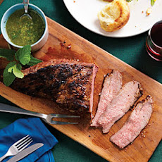 Garlic-Rubbed Tri-Tip with Mint Caper Salsa