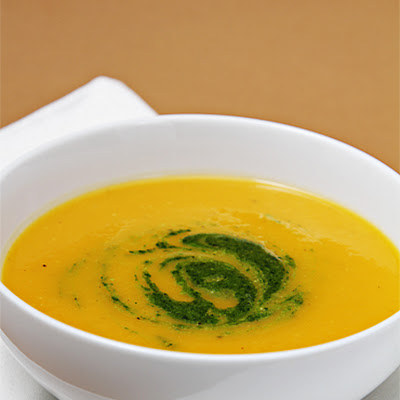 Winter Squash Soup with Citrus-Mint Pesto