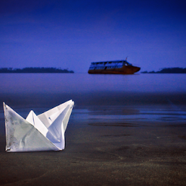 Paper boat and Ship aground. by GLenn Houshten Tasane - Artistic Objects Toys