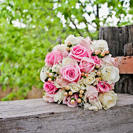 Wedding Bouquet by Alan Evans - Wedding Details ( white flowers, pink flowers, pink roses, wedding photography, junee licorice factory, white roses, wedding day, wedding, aj photography, roses, wedding flowers, rustic,  )