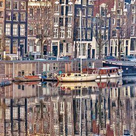 Magic Urbanity by Jesus Giraldo - City,  Street & Park  Historic Districts ( water, urban, reflection, autos, autumn, boats, buildings, windows, amsterdam, city )