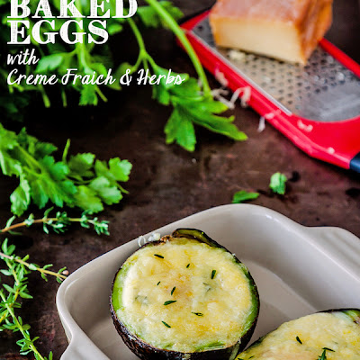 Avocado Baked Eggs With Creme Fraiche And Herbs