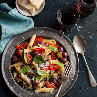 Roasted Tomato And Red Pepper Pasta With And Aubergine And Olives