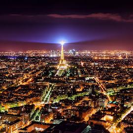 Paris Lights II by Michael Wiejowski - City,  Street & Park  Skylines ( paris, skyline, europe, night, france, travel )