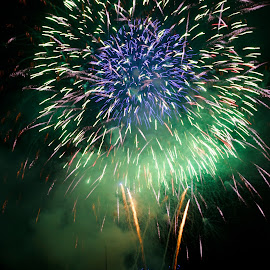 Green and Purple by Liz Childs - Abstract Fire & Fireworks ( rhine, fireworks, germany, rudesheim, river )