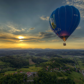 Ballooning by Boris Frković - Transportation Other ( clouds, free, sky, blue, sunset, balloon, zagorje )