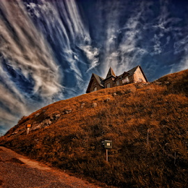 House on the Hill by John Phielix - Buildings & Architecture Homes ( clouds, hill, sky, house, road,  )