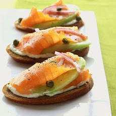 Rye Toasts with Smoked Salmon, Cucumber, and Red Onion