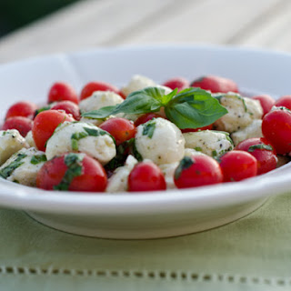 Marinated Mozzarella, Cherry Tomato, and Basil Salad