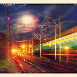 + by Wayne Fortier - Transportation Trains ( autoawesome, google, train, ig_captures, snapsee, sacramento, sac, downtownsacramento, ca, california, cali, calilove, luna, moon, lights, night, filter, clouds, cloudporn, skyporn, sky_porn, beauty )