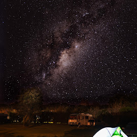 Sleeping Under the Milky Way by Stephen Milner - Landscapes Starscapes ( night photography, carl zeiss 25mm f2, camping, astrophotography, sony a7r, new zealand, taranaki, milky way )