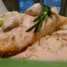 Pecan and Citrus Crusted Salmon with an Orange, Horseradish, Rosemary and Crabmeat Beurre Blanc