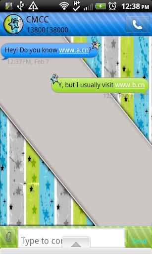 GO SMS THEME StarsGrnBlue