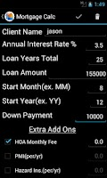 Screenshot of Mortgage Calculator and Loan