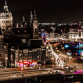 Amsterdam by Youssef Lahlou - City,  Street & Park  Vistas ( lights, amsterdam, night, cityscape, light, nightscape )