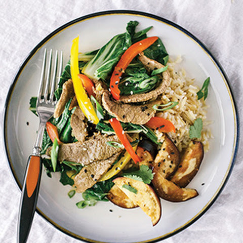 Ginger Lime Beef Stir-Fry with Jasmine Rice & Spicy Eggplant