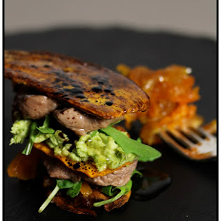 Sweet Potato Napoleon with Lamb and Sweet and Sour Chutney.