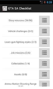 100% checklist for gta sa - screenshot