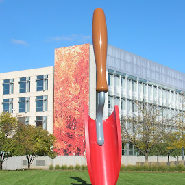 Shovel Sculpture by Linda McCormick - Artistic Objects Other Objects ( sculpture, shovel, red shovel, artistic objects, downtown )