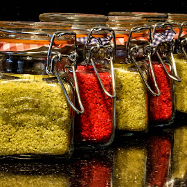 Jars of sand by Garry Chisholm - Artistic Objects Other Objects ( colour, garry chisholm, sand, reflection, red, glass, yellow, jars )