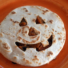 Jack 'O Lantern Quesadillas with Chipotle-Maple Pumpkin and Black Beans