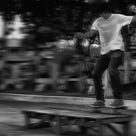 In Motion by Ferdinand Ludo - Sports & Fitness Skateboarding ( skateboarding, practice, under mactan bridge, teen-agers, fun )