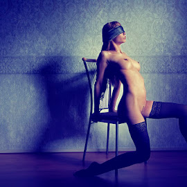 Playing games... by Catchlights Fotografie - Nudes & Boudoir Artistic Nude ( stockings, chair, girl, nude, nsfw, blindfold, woman, shadow, naked, hair, boobs, sensual )