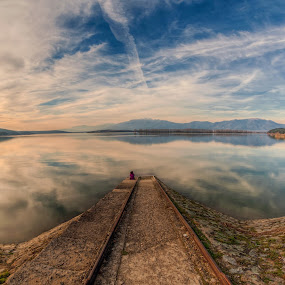 On the dam by Petar Shipchanov - Landscapes Waterscapes ( clouds, water, sky, waterscape, sunset, dam, fish eye, koprinka dam, bulgaria )