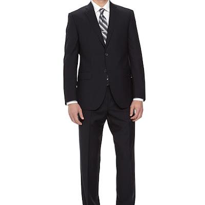 Neiman Marcus Two-Piece Italian Wool Suit, Navy - (38R)
