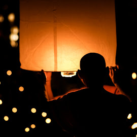 Monk Lantern Release by Josh Fischl - News & Events World Events ( lantern, monk, thailand, release, buddha )