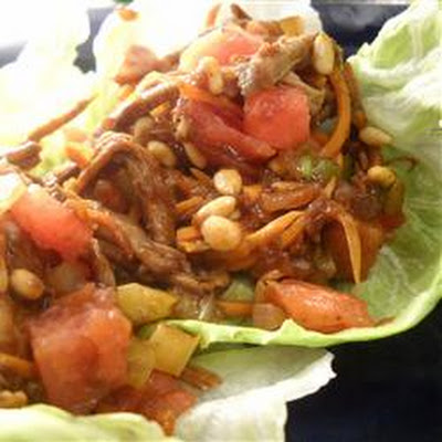 Minced Pork and Watermelon Lettuce Wraps