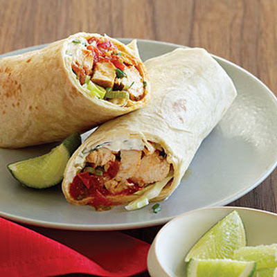 Chicken Fajita Burritos with Feta Crema
