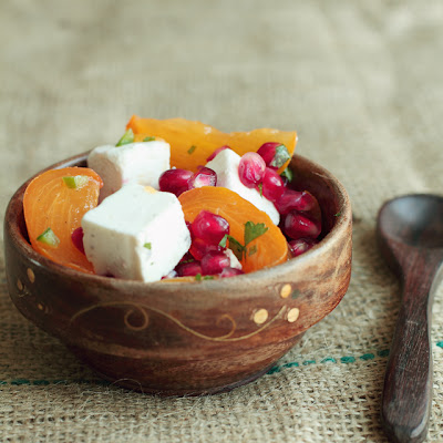 Persimmon Pomegranate Feta Salad with Chili Lime Dressing