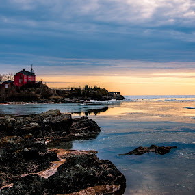Marquette Harbor by Beaver Tripp - Landscapes Waterscapes ( michigan, melting, ice, lighthouse, lake superior, marquette )