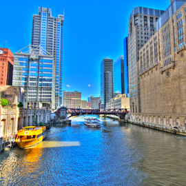 Chicago Canal by Sean Price - City,  Street & Park  Skylines ( water, taxi, hdr, wide angle, chicago, canal )