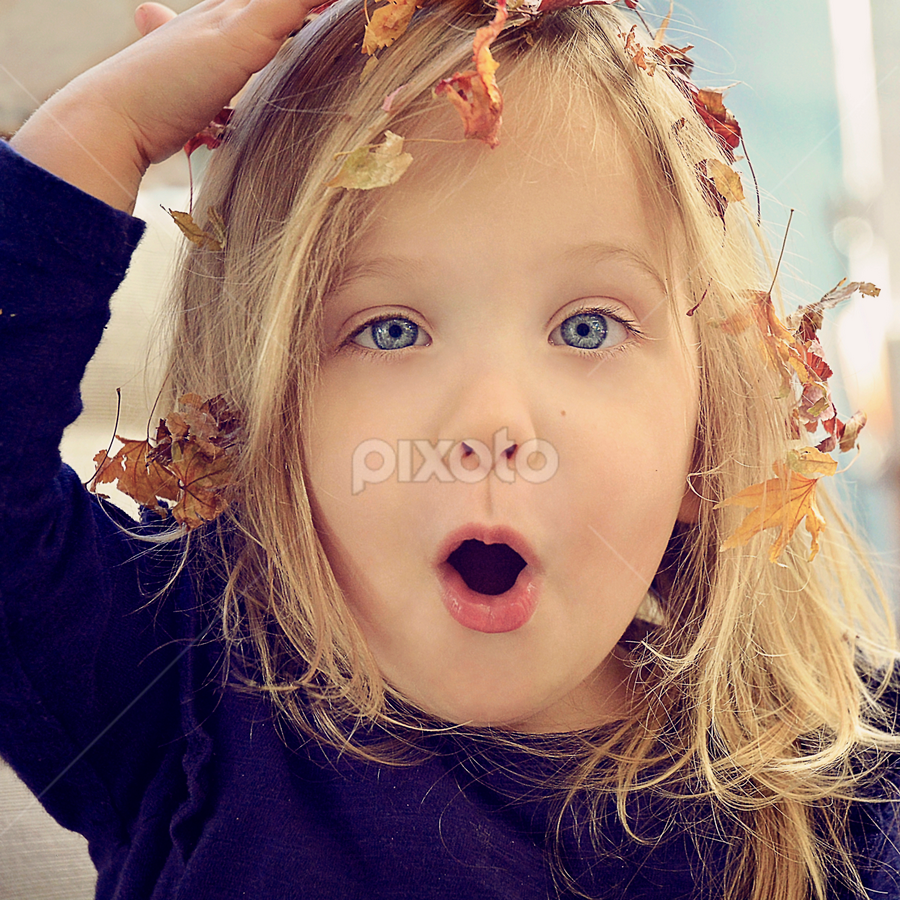 Leaves all over my head by Lucia STA - Babies & Children Child Portraits ( blue, orange. color )