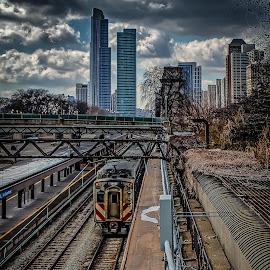 Chicago Platform by Ron Meyers - Transportation Railway Tracks