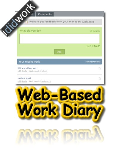 ididwork, Web-Based, Online, Work Diary, Job Tracker, Work Tracker