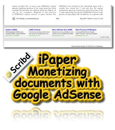 Scribd, iPaper, Monetizing documents with Google AdSense
