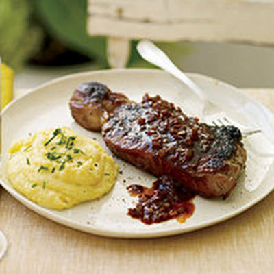 Red-Eye Chili Gravy Steaks with Cheddar-Chive Polenta