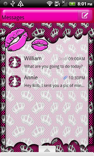 GO SMS THEME PrincessKisses1