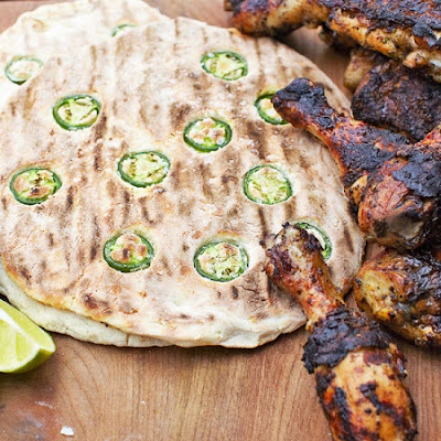 Levi Roots-stylee jerk chicken & jalapeno breads