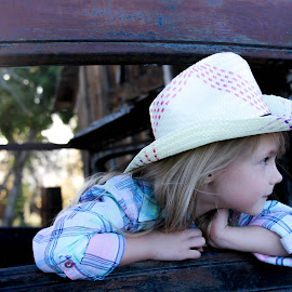 Into The Distance by Celeste Wallis - Babies & Children Child Portraits ( children, cowgirl, old cars, kids portrait, country,  )