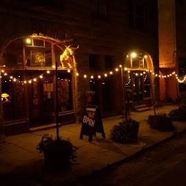 Evening, Port Costa, California by Kathleen Koehlmoos - City,  Street & Park  Markets & Shops ( port costa at night, carquinez, san francisco bay area towns, small towns of california, carquinez strait, port costa, port costa california )