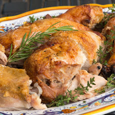 Pollo in porchetta (Spit-Roasted Chicken with Pancetta Stuffing)