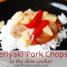 Teriyaki Pork Chops with Red Pepper and Pineapple in the Slow Cooker