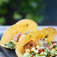 Shrimp Tacos with Grilled Poblano Salsa