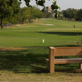 Landscape of Golf Course  by Thakkar Mj - Landscapes Prairies, Meadows & Fields ( chair, golf course, nature, golf, landscape, Chair, Chairs, Sitting )