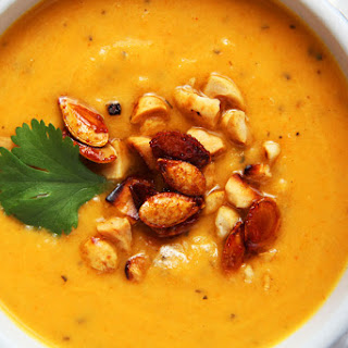 Thai Butternut Squash, Sweet Potato Soup with Roasted Honey Sriracha Squash Seeds