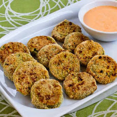 Oven-Fried Green Tomatoes with Sriracha-Ranch Dipping Sauce (Gluten-Free, Low-Carb, Phase One)